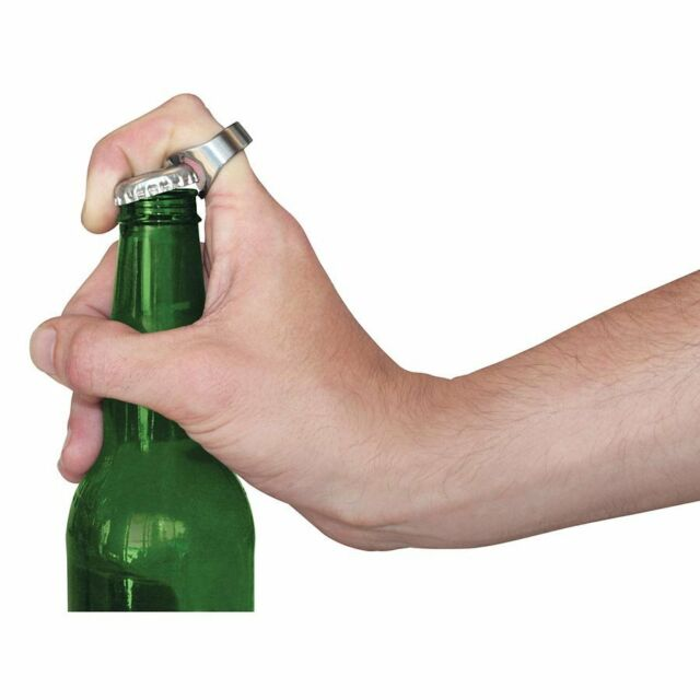 Beer Bottle Opener Ring cool looking brushed stainless steel Great Gift for Dad