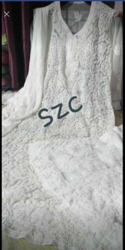 Details about  /Handmade Lucknawi Chikankari Georgette Jaal With Dupatta Summer Wear Palazzo Set
