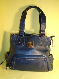 Navy Tignanello Leather Purse Or