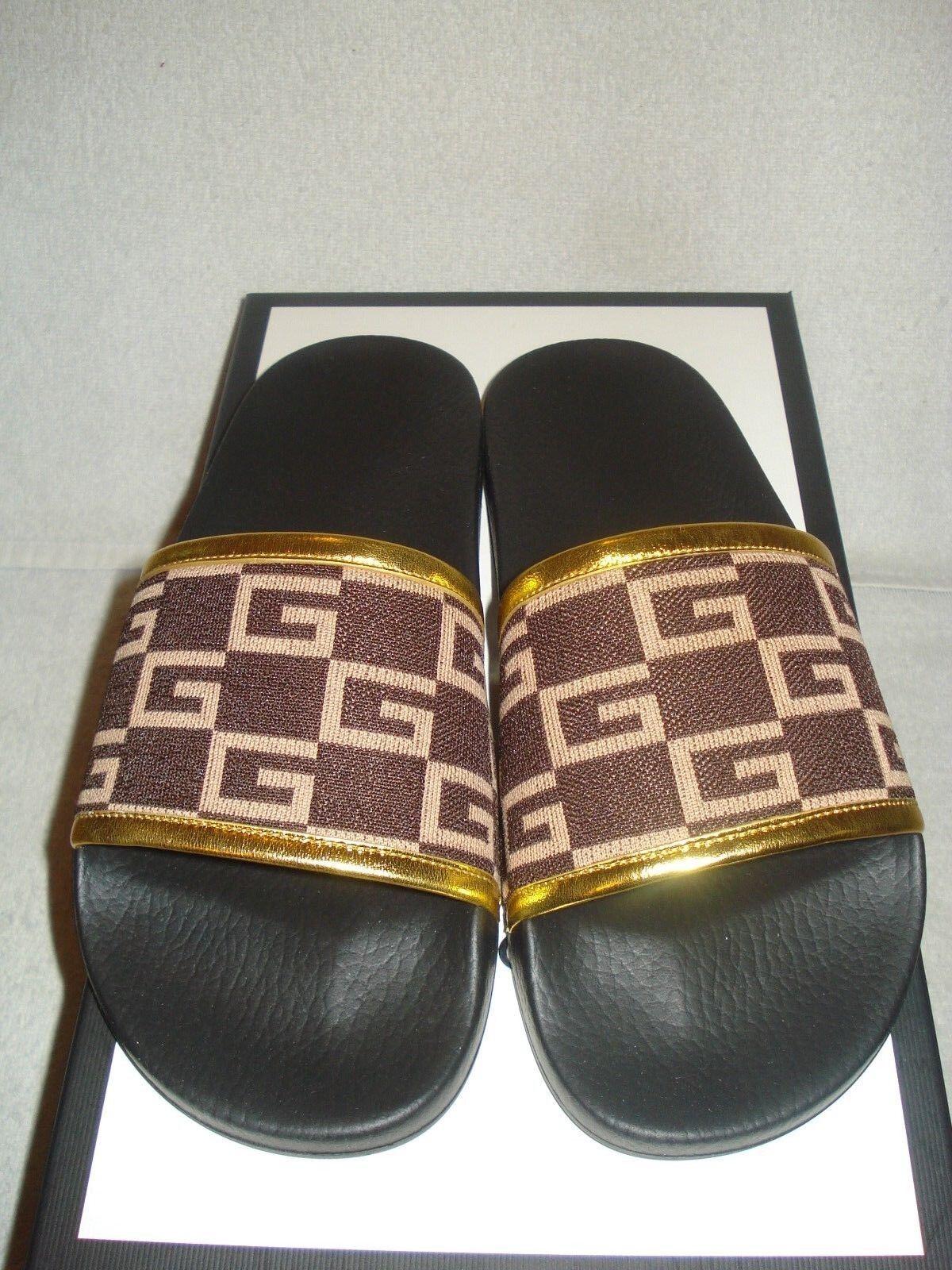 a730916e7e7 100 Authentic Men Gucci Pursuit Leather GG Sandals UK 7 us 8 for sale  online