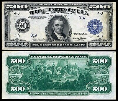 Reproduction US $5000 Bill Series 1918 Large size BIG Beautiful BLUE seal
