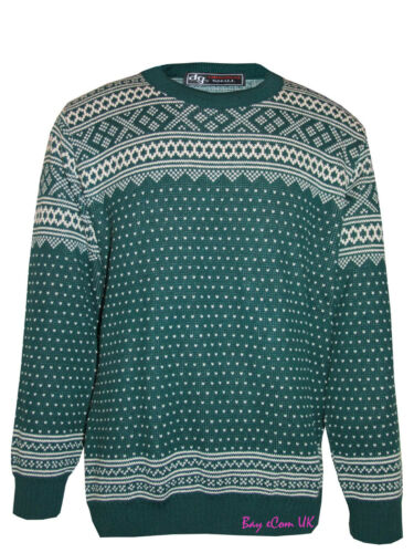 New Men/'s Knitted Crew Neck Jumpers Nordic Aztec Pullover Tops UK Size S to XL