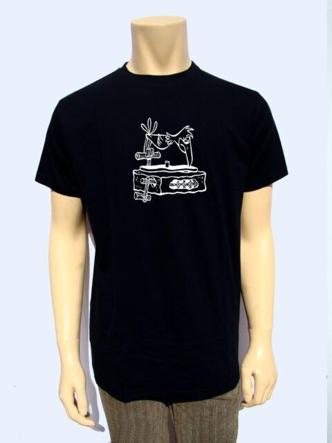 Dj Turntable Flintstones Mens T Shirt Graphic Tee Record Music Djs Tee