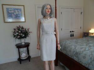 New-Banana-Republic-Beige-Belted-Tweed-Sheath-Dress-Size-6
