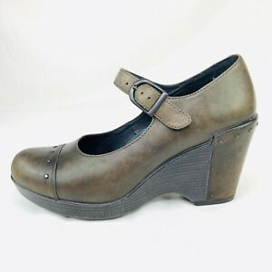 Dansko-Fanny-Leather-Wedge-Studded-Mary-Jane-Clogs-Shoes-EUR-39-US-9-Slate-Gray