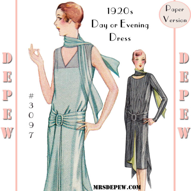 Vintage Sewing Pattern Ladies 1920s Day Or Evening Dress 3097 34