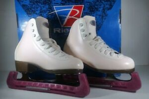 Riedell-WHITE-Women-039-s-Figure-Skates-skate-covers-w-protective-dust-covers-Size-2