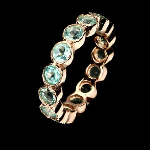 Round-Cut-3-5mm-Top-Neon-Blue-Apatite-Africa-925-Sterling-Silver-Eternity-Ring