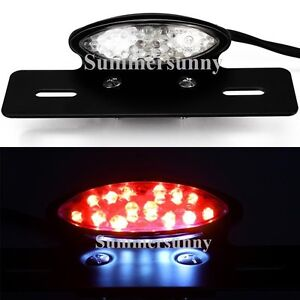 Clear LED MOTORCYCLE BRAKE LICENSE PLATE INTEGRATED TAIL LIGHT 12V UNIVERSAL US