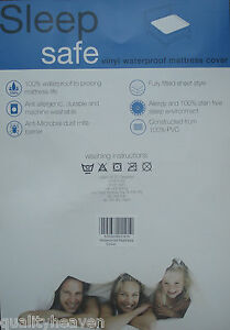HEAVY-DUTY-WATERPROOF-MATTRESS-COVER-Plastic-Bed-Protector-Sheet-NEW-Fitted-UK