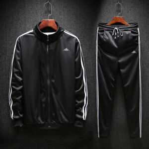 Men-Outfit-TrackSuit-Jacket-Bottom-Sport-Suit-Sets-Pants-Trouses-Strips-Jogging