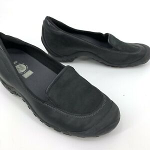 Merrell-women-s-plaza-spree-black-slip-on-loafers-Wedge-9-5-EUC-Comfort-Shoes