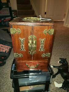 Antique-Chinese-Wood-Brass-Jewelry-Box-5-Drawer-Cabinet-12-x-8-x-5-5-Heavy