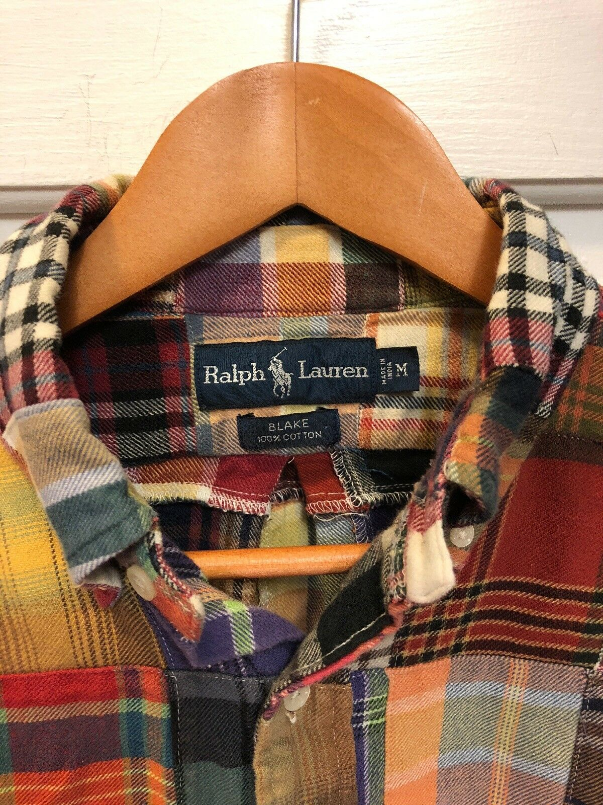 Ralph Lauren Blake Patchwork Flannel M Rare Flawless bluee Label