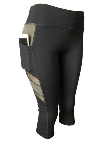 Women Gym Yoga Workout Active Compression Capri Leggings Pants With 2 Pockets