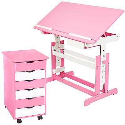 Bureau enfant ergonomique table inclinable avec commode caisson à roulettes