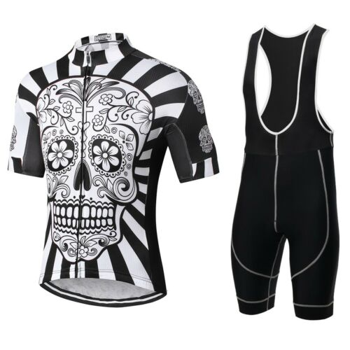 Mens Cycling Jerseys Set Team Bike Shirts and Bib Shorts kits S-XXXL Skull Style