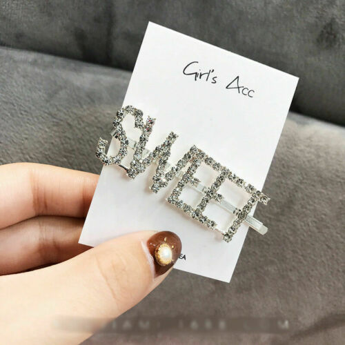 Pearl Word Slogan Hair Clip Rhinestone Crystal Hairpin Barrette Slide Clips Grip