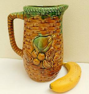 Vintage-Majolica-jug-pineapples-bananas-and-tropical-fruit-9-034-tall-decorative