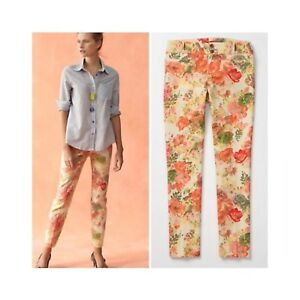 Cartonnier-Anthropologie-Women-Orange-Peach-Floral-Slim-Ankle-Pants-sz-4-30-034-W