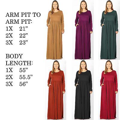 BIG WOMENS PLUS SIZE LONG SLEEVE STRETCHY KNIT CASUAL FALL SPRING MAXI  DRESS | eBay