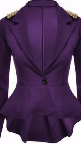 Womens Spike Studded Jacket Ladies Peplum Frill Blazer Tail Back Celebrity Style