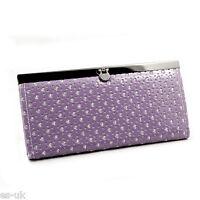 Womens / Ladies / Girls Heart Floral Glitter Clutch Purse Inner Coin Zip