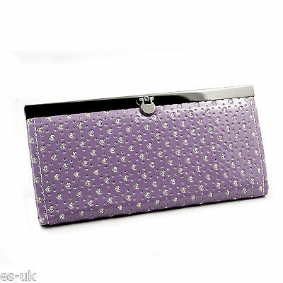 Womens / Ladies / Girls Heart Diamond Glitter Clutch Purse; Floral; Inner Zip