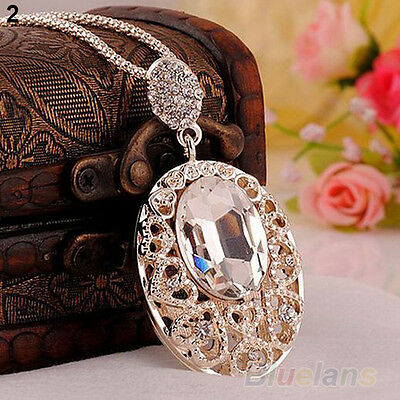 Retro Rose Gold plated crystal Rhinestone Sweater chain pendant Necklace B57U