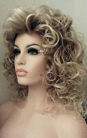 Long Layered Curly Wig Blondes W Subtle Roots, Synthetic, Big Hair