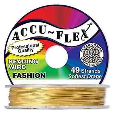 30' Accuflex Dijon Gold 49 strand .019in Metallic Accu-flex Beading Wire NEW!