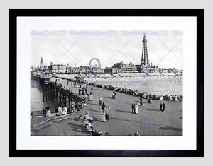 BLACKPOOL-FROM-NORTH-PIER-ENGLAND-OLD-BW-BLACK-FRAMED-ART-PRINT-B12X987
