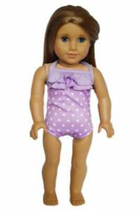 Doll-Clothes-18-034-Bathing-Suit-Lavender-White-Polka-Dot-Fits-American-Girl-Dolls