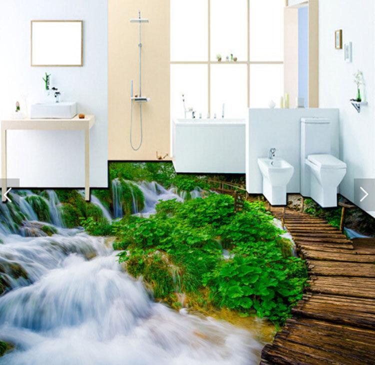 3D Grün Field Waterfall Floor Mural Photo Flooring Wallpaper Print Wall Decal