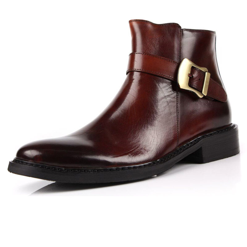 Pelle Buckle Strap Uomo Cowboy Ankle Stivali pointy toe toe toe shoes Work Business New 7c0279