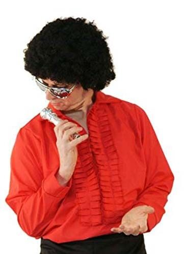 1960/'s-70/'s-80/'s Tribute Act-Disco BLACK OR RED Ruffle Front Shirt ALL SIZES