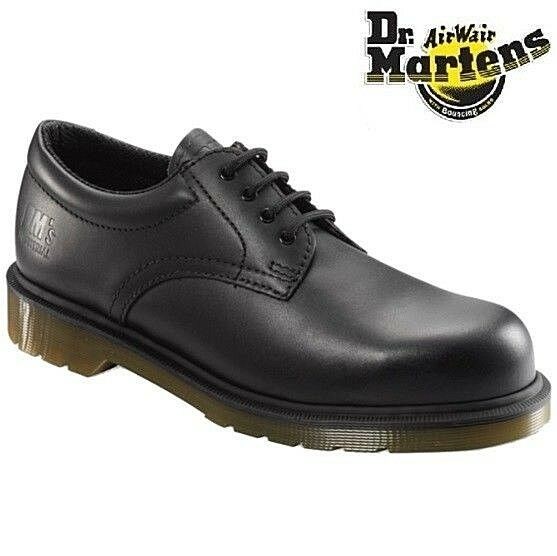 Dr Martens GIBSON Work Safety Black Leather Air Sole Steel Toe Cap Mens shoes Sz