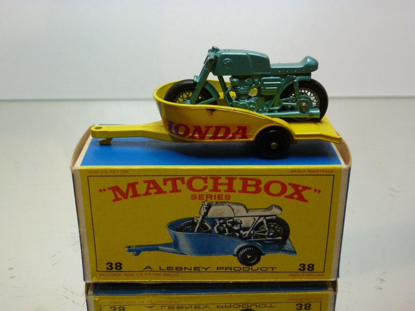 LESNEY MATCHBOX 38 HONDA MOTOR CYCLE + TRAILER - verde amarillo - VERY GOOD IN BOX