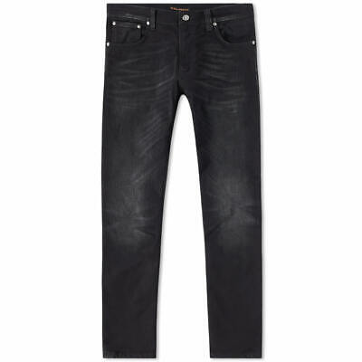 Bene Nuovo | Uomo Nudie Slim Tapered Fit Jeans | Lean Dean Black Crunch | W29 L32-