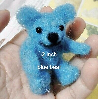 Needle Felted Animal little 1 teddy  bear Wool Art  mini Sculpture ooak gift p1