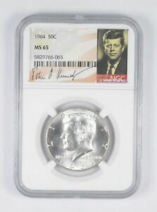 1964 P NGC MS65 SILVER KENNEDY HALF DOLLAR FIRST YEAR SIGNATURE 90/% COIN JFK
