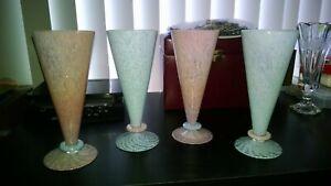 VINTAGE-HAND-BLOWN-PARFAIT-SHAPE-GLASS-SET-OF-4-PINK-AND-BLUE-NICE-SET