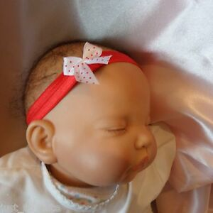 Image is loading Baby-Headband-red-band-small-white-spot-bow- 0a8cc821284