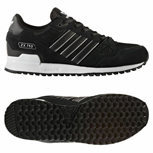 03b9759fd61a adidas ORIGINALS MEN S ZX 750 TRAINERS BLACK SHOES SNEAKERS RETRO 90S 80S  RARE