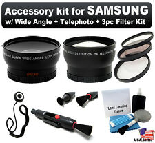 Wide Angle + Telephoto 58mm Lens + Filter Kit for Samsung NX200 NX100 NX10 NX11