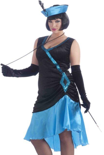 bacc9282c00 Blue Flapper Costume Dress Sexy 20s Betty Boop Adult Gatsby 20 s - Plus Size  XL