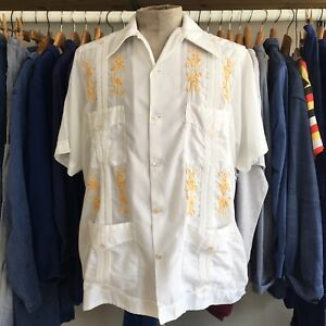 True-Vintage-1960s-White-Mayaaan-Tiki-Mexican-Embroidered-Guayabera-Shirt-L-42