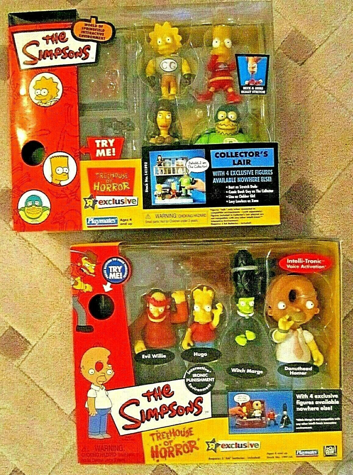 TWO PLAYMATES SIMSONS TREEHOUSE OF HORROR NIB 2002 2003 SEALED VOICE ACTIVATED