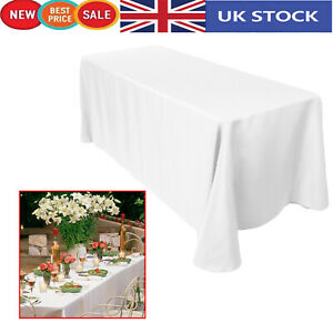 Uni-Blanc-Rectangle-Polyester-Table-Nappe-90-x-132-in-environ-335-28-cm-table-de-mariage