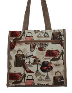 City-Shopper-Gobelin-Einkaufstasche-Mode-Hut-Schuhe-Tasche-Beutel-Tapestry